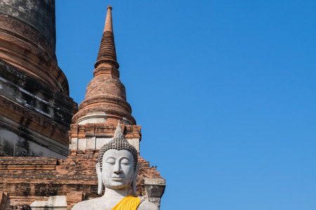 phra nakhon si ayutthaya: Buddha statue at Wat Yai Chai Mongkhon, the historical Park of Ayutthaya, Phra Nakhon Si Ayutthaya, Thailand Stock Photo