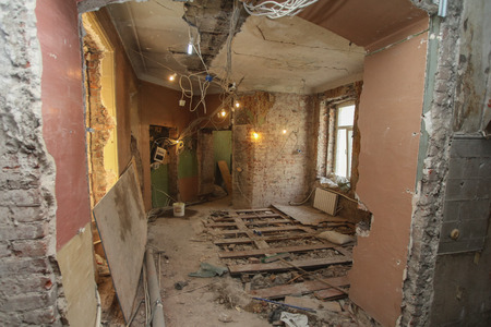demolishing: It is the renovation of apartment in the old house.