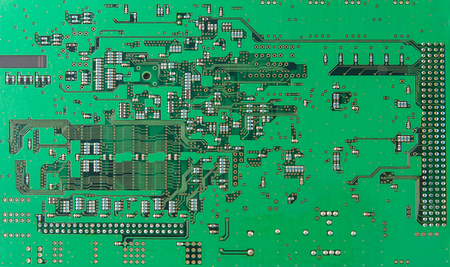 diodes: Chips and components with electronic circuit green board