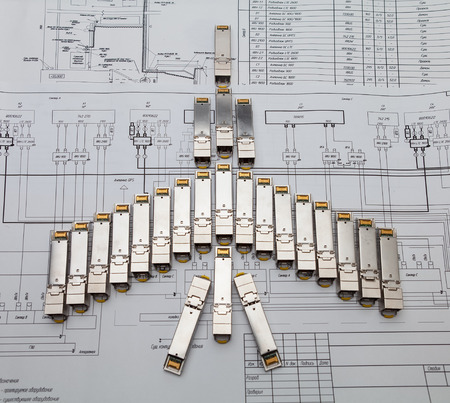 modules: SFP network modules for network switch  as shape of plane