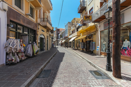 old towns: The shop on the street of the old towns part of city Rethymnon. Rethymnon is an old historic town on the northern coast of the island Crete.