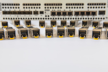 Internet SFP network modules for network switch Stock Photo
