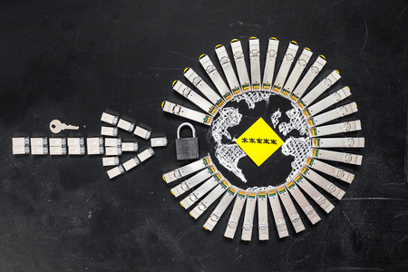 enhancement: Internet SFP network modules  as the shape of Earth and  arrow, padlock, key and yellow sticker with  title password on the black background.Concept of internet securitycomputer data encryption  data protection  security enhancement