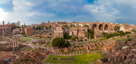 ROME, ITALY - September  12, 2016: Veiw on the  Roman Forum in Rome during sunset. Editorial