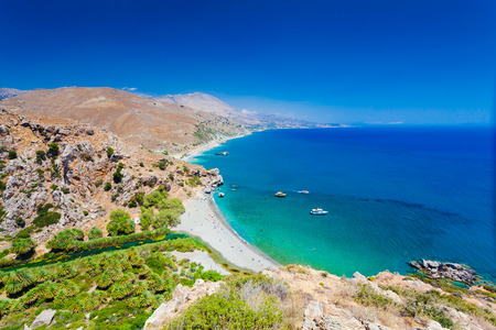 preveli: Panorama of Preveli beach at Libyan sea, river and palm forest, southern Crete , Greece Stock Photo