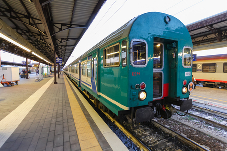 marte: Florence, ITALY- September 10, 2016: Train TrenItalia of  Regionale or Regionale Veloce type on the station in Florence Firenze Campo di Marte Editorial