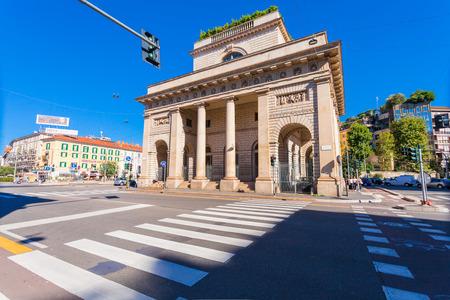 MILAN, ITALY - September 06, 2016:  A street view of beautiful historic landmark - Porta Venezia (crossroad on Avenue Buenos Aires and street Bastioni di Porta Venezia) Editorial