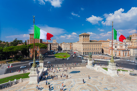 ROME, ITALY - September  13, 2016: View on the  Piazza Venezia in Rome