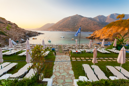 Bali, Island Crete, Greece, - June 21, 2016: Morning scenery with  mountains, sea and cozy beach near of village Bali located on the coast.