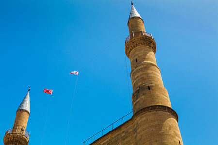 NICOSIA, NORTHERN CYPRUS - MAY 30, 2014: View on Northern Nicosia symbol - steeples of Selimiye mosque (ex. St. Sophia Cathedral)