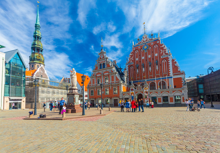 RIGA, LATVIA - MAY 06, 2017: View on Riga Town Hall Square and The Blackheads House that are  located in the city center of Riga. Editorial