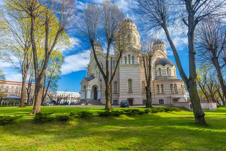 RIGA, LATVIA - MAY 06, 2017: View on Rigas Nativity of Christ Cathedral that is located in the city center of Riga. Rigas Nativity of Christ Cathedral is the biggest Orthodox church in the city.