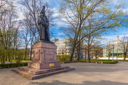 RIGA, LATVIA - MAY 06, 2017: View on monument of Michael Andreas Barclay de Tolly that is located in centrally-located park Esplanade in the city center of Riga. Editorial