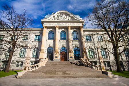 RIGA, LATVIA - MAY 06, 2017: View on Latvian National Museum of Art that is located  in the city center of Riga. Editorial