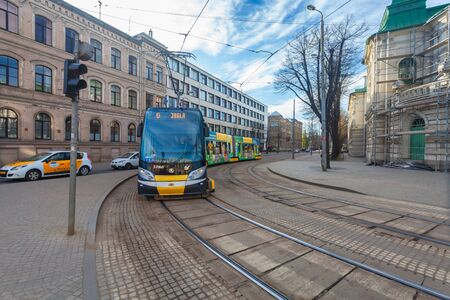 RIGA, LATVIA - MAY 06, 2017: View on modern tram is  the part of  public transport in Riga.