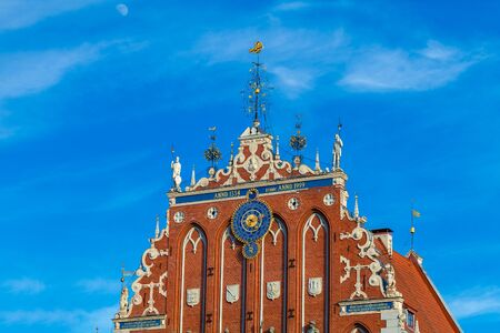 RIGA, LATVIA - MAY 06, 2017: View on the top of The Blackheads Houseis located in the city center of Riga. The Blackheads House is currently a home to the President s Administration. Editorial