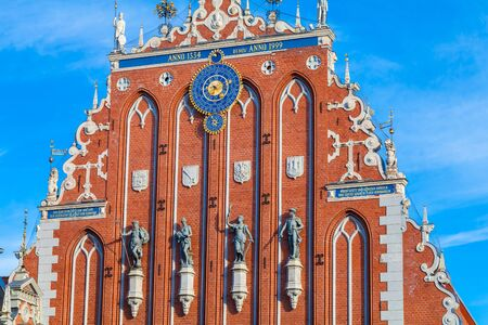 RIGA, LATVIA - MAY 06, 2017: View on the top of The Blackheads Houseis located in the city center of Riga. The Blackheads House is currently a home to the President Administration. Editorial