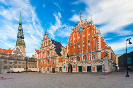 RIGA, LATVIA - MAY 06, 2017: View on the  The Town Hall Square and The Blackheads House  are  located in the city center of Riga.