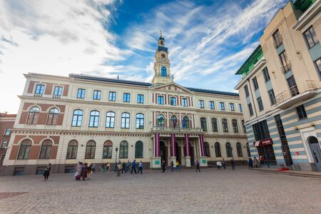RIGA, LATVIA - MAY 06, 2017: View on the The Town Hall Square and Riga City Council - Riga Dome are located in the city center of Riga