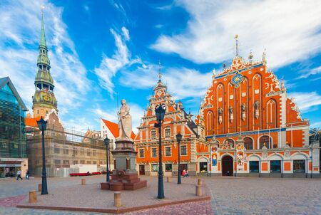 RIGA, LATVIA - MAY 06, 2017: View on the  The Town Hall Square, Roland Statue and The Blackheads House  are  located in the city center of Riga. Editorial