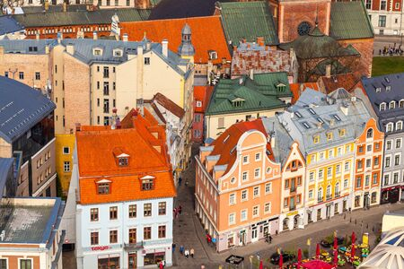 RIGA, LATVIA - MAY 05, 2017:  Buildings of the old city Riga.  Architecture of old town of Riga. Riga is the capital and the largest city of Latvia widely known due to its unique medieval and Gothic architecture. Editorial