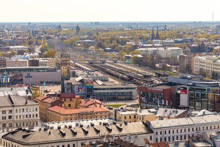 RIGA, LATVIA - MAY 05, 2017:  Panorama of the city Riga in spring sunny day.