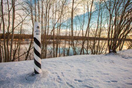 NARVA, ESTONIA FEBRUARY 23, 2017: Estonian border post on the border with Russia on the left bank of river Narva.