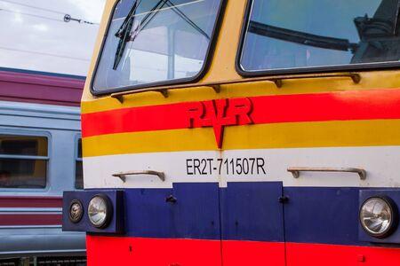 Riga, Latvia - May 7, 2017:  Image of the local train on  the Central station in Riga, Latvia