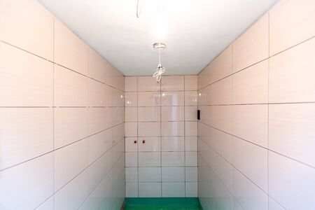 Bathroom with tiled walls and floor painted  by green colored  waterproof finish material in apartment is inder construction, remodeling, renovation, overhaul, extension, restoration and reconstruction. Concept of home improvement.