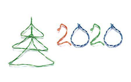 Christmas tree and number 2019 made from cables of Twisted pair RJ45 for Lan network. Concept of New Year, Christmas, internet connection, communication 写真素材 - 137152029