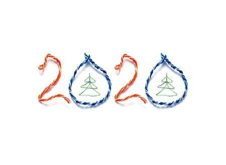 Christmas tree and number 2019 made from cables of Twisted pair RJ45 for Lan network. Concept of New Year, Christmas, internet connection, communication