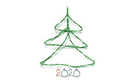 Christmas tree and number 2019 made from cables of Twisted pair RJ45 for Lan network. Concept of New Year, Christmas, internet connection, communication 写真素材 - 137152035