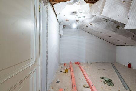 Apartment or room is under construction, remodeling, renovation, overhaul, extension, restoration and reconstruction. Concept of total home improvement. 写真素材 - 135526669