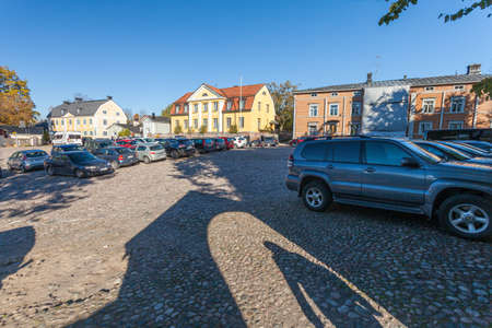 Finland, Porvoo - October10, 2016: Street and colored houses in old town Porvoo. 에디토리얼