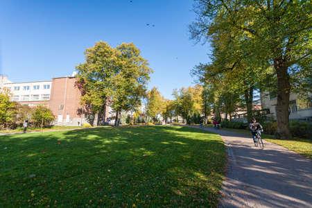 Finland, Porvoo - October10, 2016: The park in old town Porvoo.