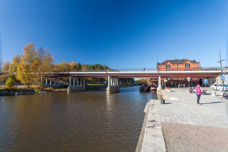 Finland, Porvoo - October10, 2016: Water canal and boats in old town Porvoo.