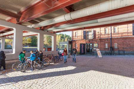 Finland, Porvoo - October10, 2016: Under the bridge in old town Porvoo.