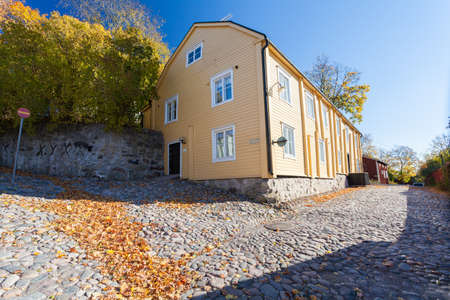 Finland, Porvoo - October10, 2016: Street and colored house in old town Porvoo
