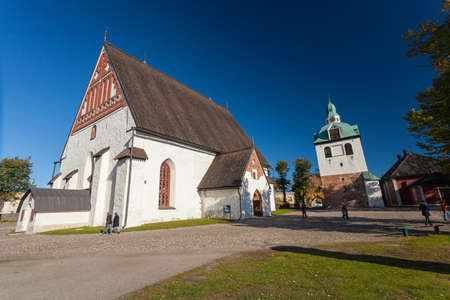 Finland, Porvoo - October10, 2016: Little church at the Porvoo Cathedral, Porvoon tuomiokirkko, cathedral of the Evangelical Lutheran Church of Finland from the 15th century.