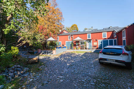 Porvoo, Finland, October 08, 2016: Street and colored houses in old town Porvoo 에디토리얼