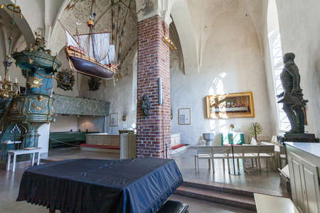 Porvoo, Finland, October 08, 2016: Inside view in the Porvoo Cathedral, Porvoon tuomiokirkko, cathedral of the Evangelical Lutheran Church of Finland from the 15th century.