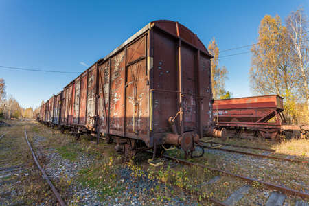 Porvoo, Finland, October 08, 2016: Railway, train and cargo wagons in the cargo station in old town Porvoo.