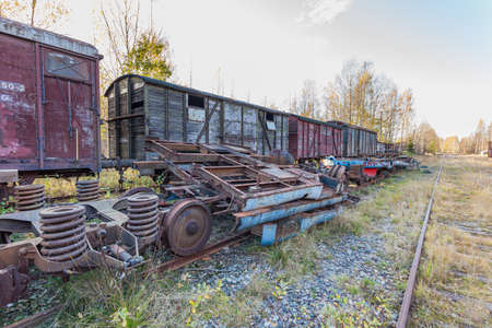 Porvoo, Finland, May 08, 2018: Railway, train and cargo wagons in the cargo station in old town Porvoo