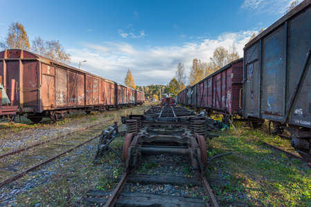 Porvoo, Finland, October 08, 2016: Railway, train and cargo wagons in the cargo station in old town Porvoo