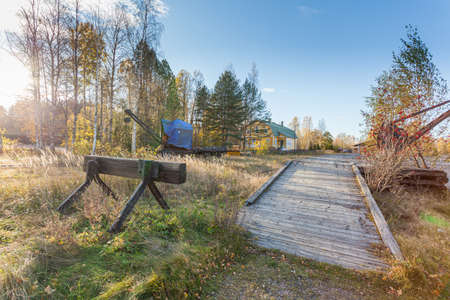 Porvoo, Finland, October 08, 2016: Railway in the cargo station in old town Porvoo