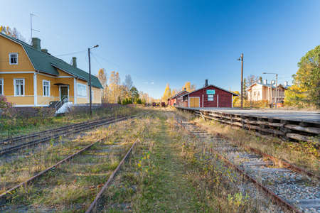 Porvoo, Finland, October 08, 2016: Railway in the cargo station in old town Porvoo.