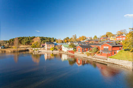 Porvoo, Finland, October 08, 2016: Water canal and colored houses in old town Porvoo