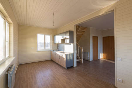 The empty room of new house after construction and renovation. Concept of Housewarming and new dwelling.