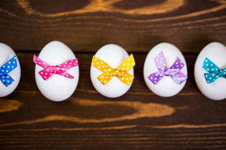 Easter eggs with colorful bow 免版税图像