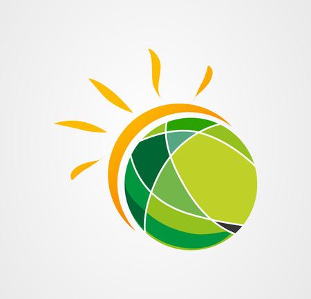 Sun earth logo icon vector Vector